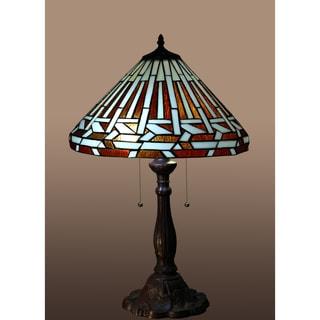 Natasha 2-light Striped-pattern 26-inch Tiffany-style Table Lamp