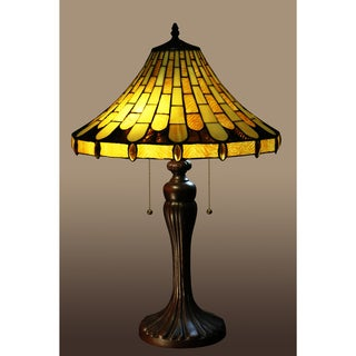 Sans 2-light Yellow 26-inch Jeweled Tiffany-style Table Lamp