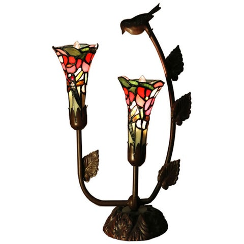 Bethlehem 2-light Lily Shades with Bird Tiffany-style Table Lamp