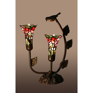 Bethlehem 2-light Lily Shades with Bird Tiffany-style Table Lamp