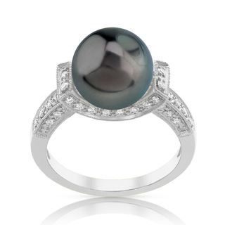 Radiance Pearl 18k Gold Tahitian South Sea Pearl and Diamond Ring (G-H, SI1-SI2)