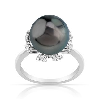 Radiance Pearl 14k Gold Tahitian South Sea Pearl and Diamond Ring (G-H, SI1-SI2)
