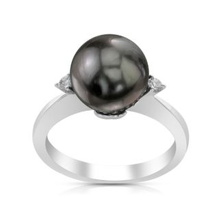 Radiance Pearl 14k White Gold Tahitian South Sea Pearl and Diamond Ring (G-H, SI1-SI2)