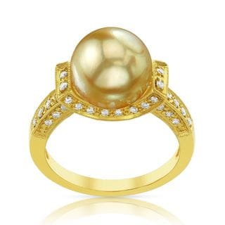 18k Yellow Gold Golden South Sea Pearl and Diamond Ring