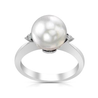 Radiance Pearl 14k White Gold White South Sea Pearl and Diamond Ring (G-H, SI1-SI2)