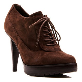 Envy Women's Shoe Mary Lace Up Oxford Platform Genuine Suede Pump
