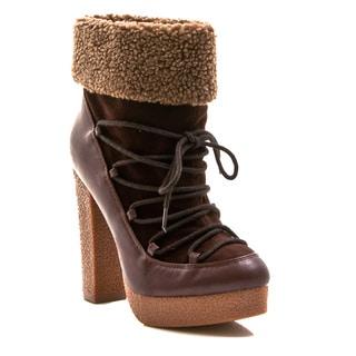 Gomax Women's Shoe Selma 03 Fold-over Fleece Platform Bootie