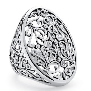 Oval Vintage-Inspired Filigree Ring in Sterling Silver Tailored