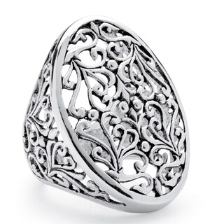 Oval Vintage-Inspired Filigree Ring in Sterling Silver Tailored (5 options available)
