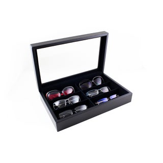 Caddy Bay Collection Large Sunglasses Case Display Storage Box with Glass Top Holds 6 Pairs