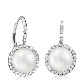 14k White Gold Pearl and 1/4ct TDW Diamond Halo Earrings (G-H, I1-I2)