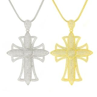 Sterling Silver Men's Fancy Cubic Zirconia Chain and Cross Bling Set