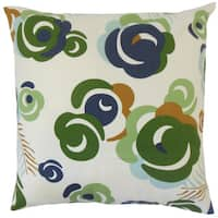 Riyaz Floral 18-inch Feather and Down Filled Throw Pillow