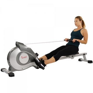 Sunny Health & Fitness SF-RW5515 Magnetic Rowing Machine Rower with LCD Monitor - Silver