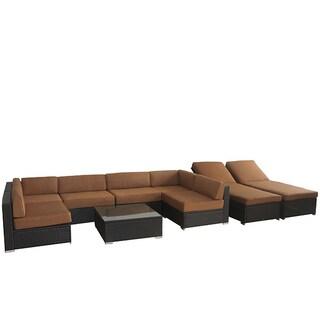 BroyerK 16-Piece Outdoor Sofa Rattan Cushion Cover Set (Option: Brown)