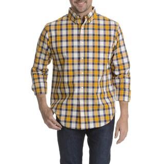 Narragansett Traders Men's Yellow Plaid Long Sleeve Collared Shirt