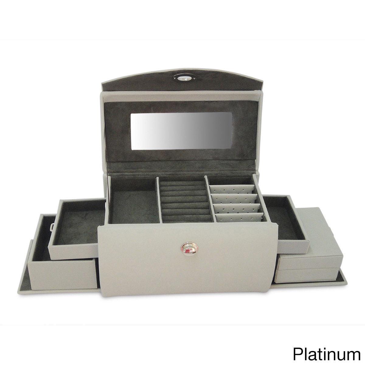 Morelle & Co. Layla Leather Jewelry Box (Platinum), Grey