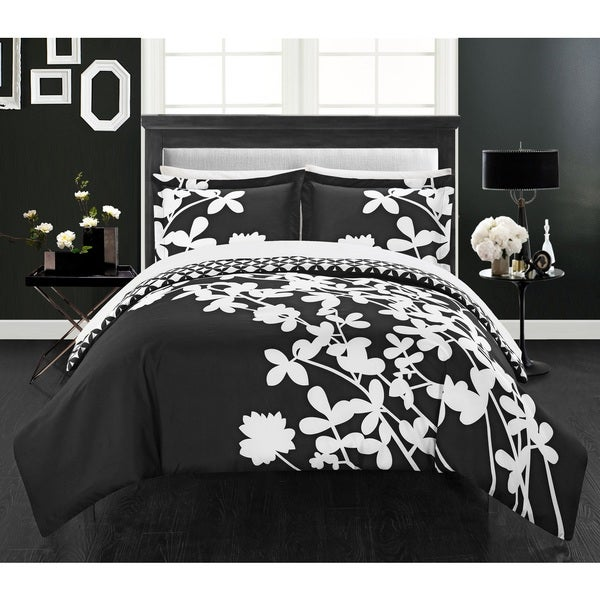 Chic Home Casa Blanca Black Reversible 3-Piece Duvet Cover Set