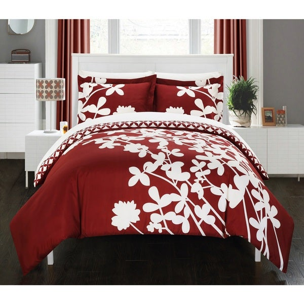 Chic Home Casa Blanca Red Reversible 3-Piece Duvet Cover Set