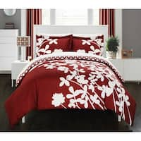Copper Grove Pando Red Reversible 3-Piece Duvet Cover Set