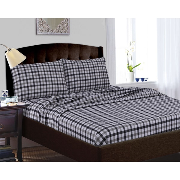 200-GSM Micro Plaid Printed Pillowcases (Set of 2)