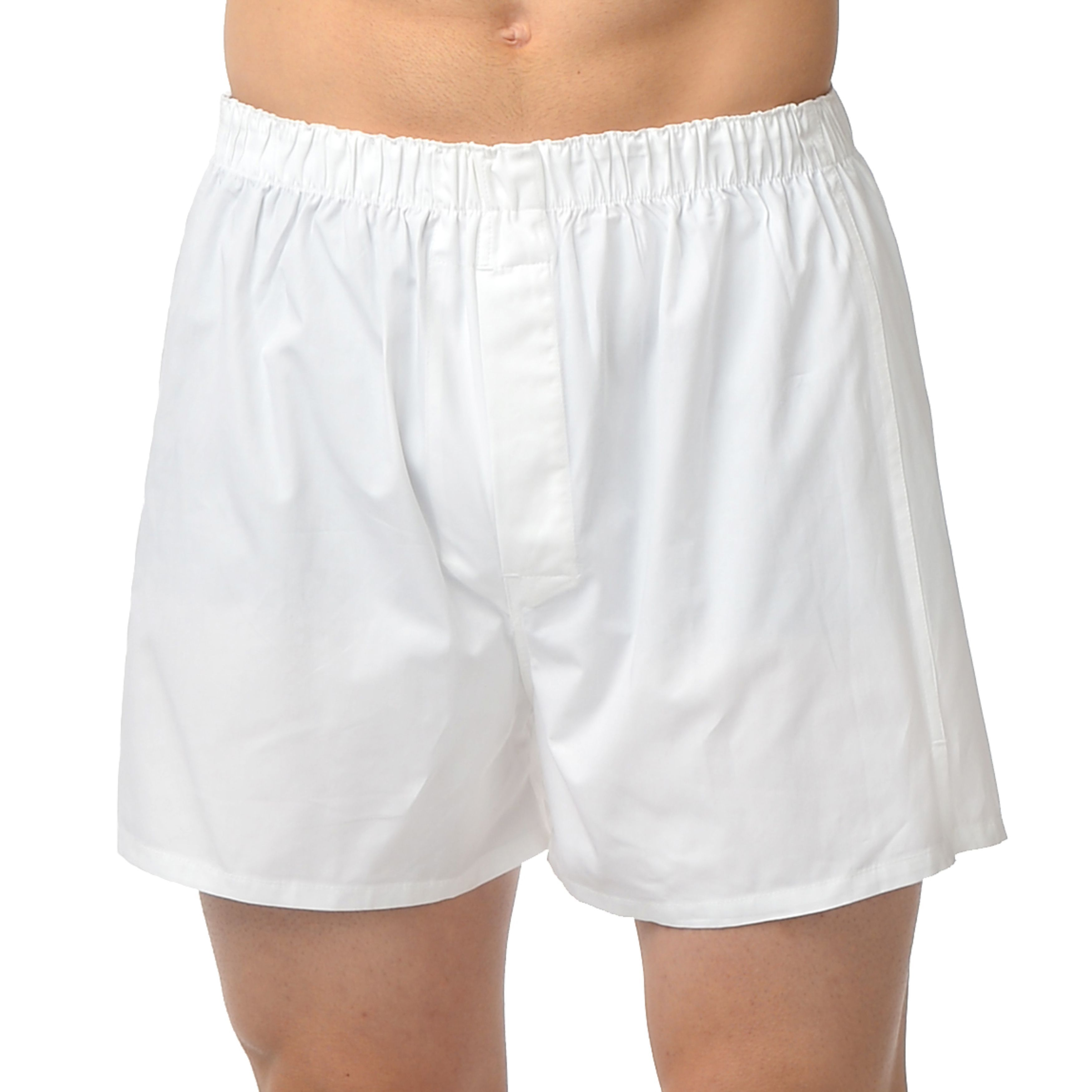 Majestic Men's Bigs Basic All-cotton Boxers (White Size-4...