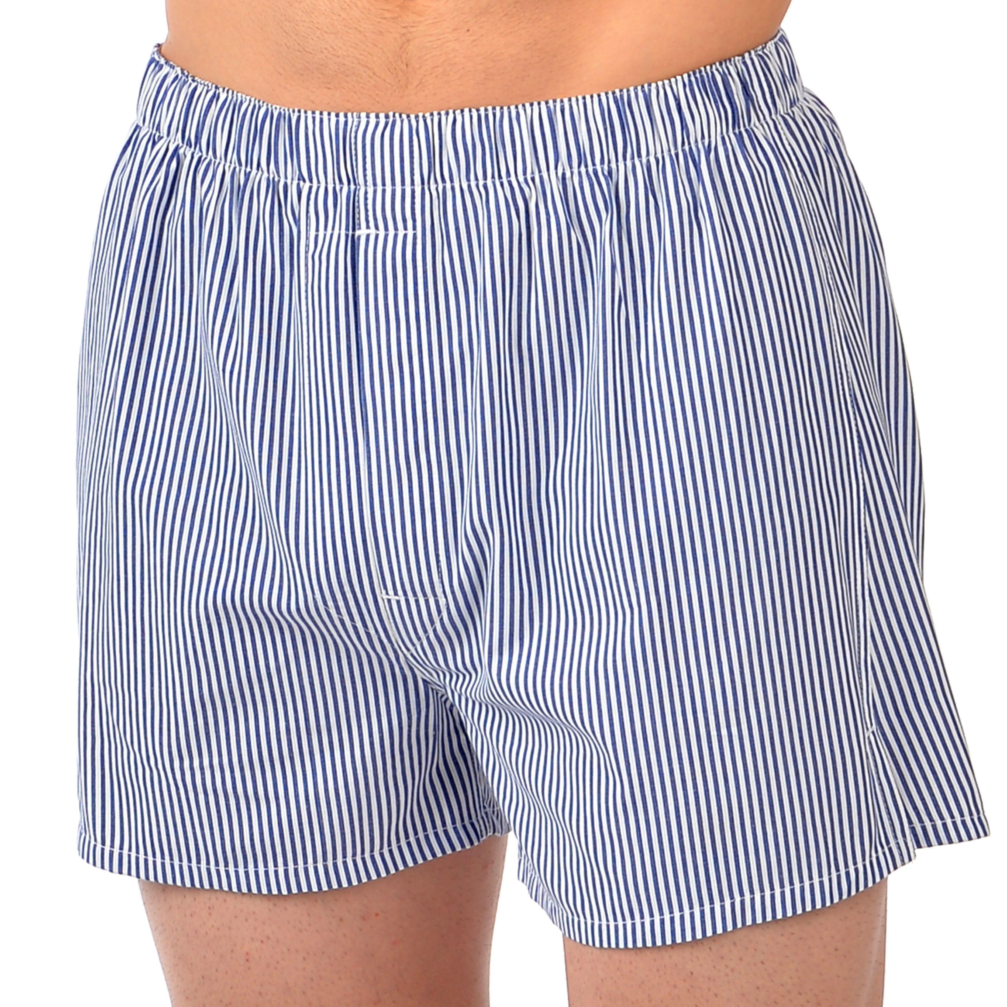 Majestic Men's Basic All-cotton Boxers (Blue&White Stripe...