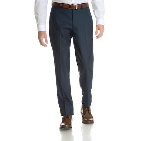 Perry Ellis Men's Blue Slim Fit Flat Front Dress Pants