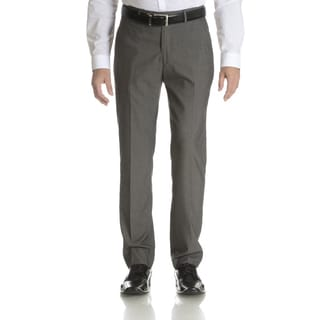 Perry Ellis Men's Grey Slim Fit Flat Front Dress Pants