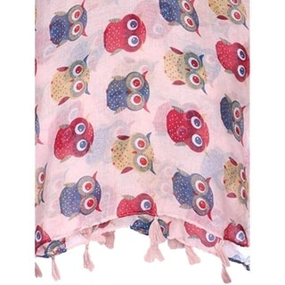 Colorful Owl Print Oblong Scarf with Fringe Tassels
