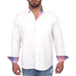 Giorgio Men's Tailored Fit White Solid Linen Blend Brato Casual Shirt