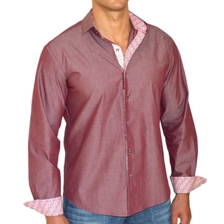Giorgio Men's Slim Fit Red Solid Pure Cotton Brato Casual Shirt