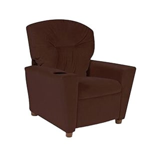 Dozydotes Kids Child Theater Recliner Chair with Cup Holder - Chocolate Micro Suede