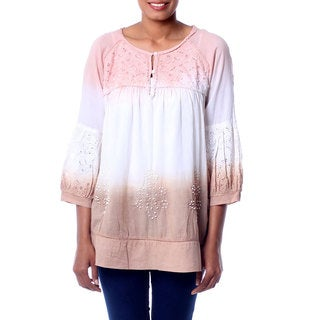 Handmade Embellished Cotton 'Subtle Allure' Blouse (India)