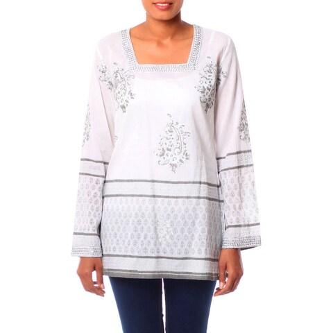 Handmade Cotton 'Silver Glam' Tunic (India)