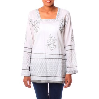 Handmade Cotton 'Silver Glam' Tunic (India)