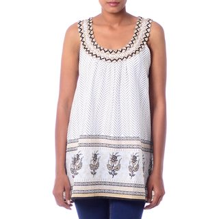 Handmade Beaded Cotton 'Golden Magic' Top (India)