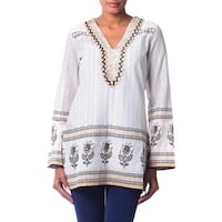 Handmade Beaded Cotton 'Golden Magic' Tunic (India)
