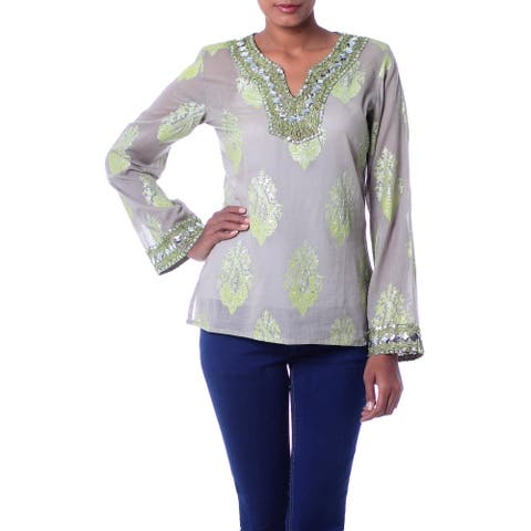 Handmade Beaded Cotton 'Jaipur Fascination' Tunic (India)