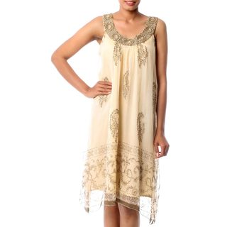 Handmade Embellished Viscose Chiffon 'Gujurat Glitz' Dress (India)