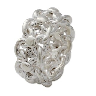 Handmade Sterling Silver 'Lives Entwined' Ring (India)