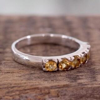 Handmade Sterling Silver 'Forever Sunshine' Citrine Ring (India)
