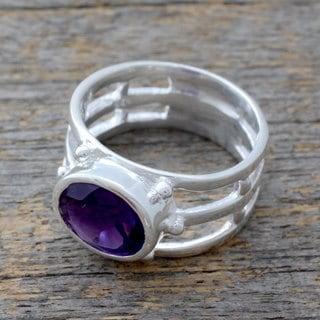 Handmade Sterling Silver 'Twilight Mood' Amethyst Ring (India)