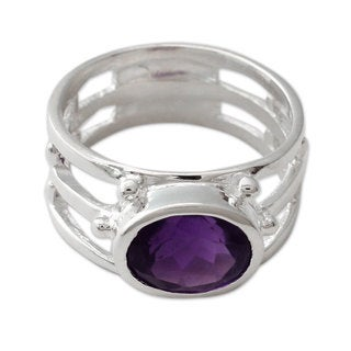 Handcrafted Sterling Silver 'Twilight Mood' Amethyst Ring (India)