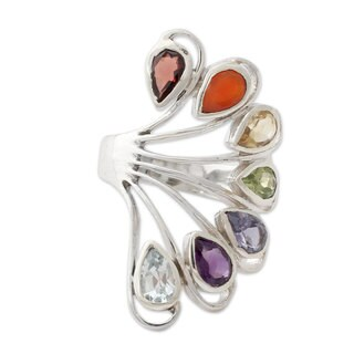 Handmade Sterling Silver 'Harmonious Wisdom' Multi-gemstone Ring (India)