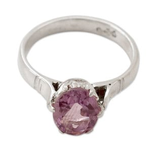 Handmade Sterling Silver 'Solitary Allure' Amethyst Ring (India)
