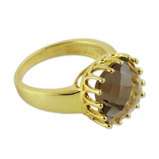 Handcrafted Gold Overlay 'Spell of Endurance' Quartz Ring (India)