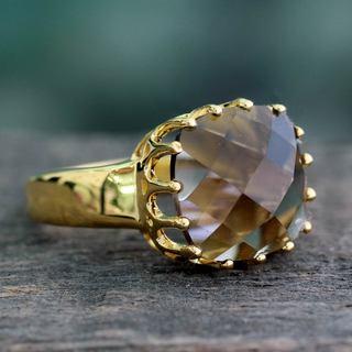Handmade Gold Overlay 'Spell of Endurance' Quartz Ring (India)