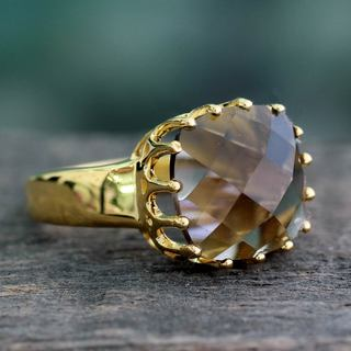 Handmade Gold Overlay 'Spell Of Endurance' Quartz Ring (India)