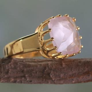 Handcrafted Gold Overlay 'Spell of a Rose' Rose Quartz Ring (India)